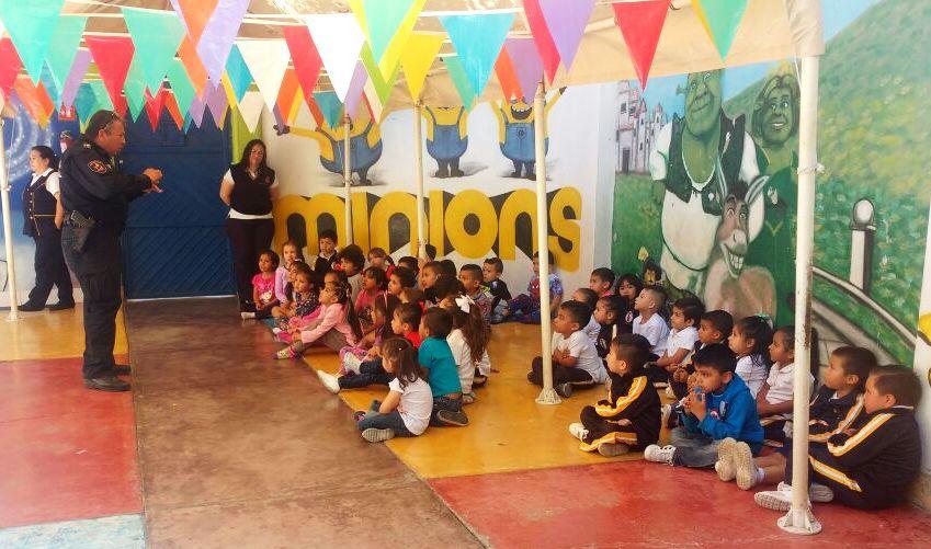 Policía Municipal realiza taller de Seguridad enpreescolar