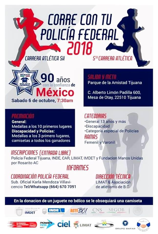 Invitación a carrera atlética en Tijuana. PolicíaFederal